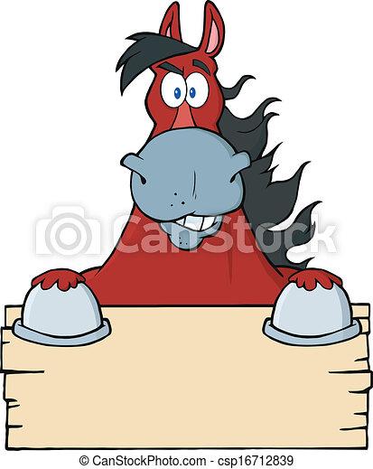 cavallo, sopra, segno, legno, vuoto, rosso - csp16712839