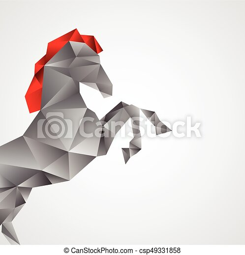 cavalo, branca, isolado, fundo - csp49331858