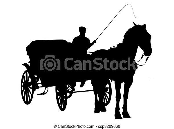 cavalo, buggy, silueta - csp3209060