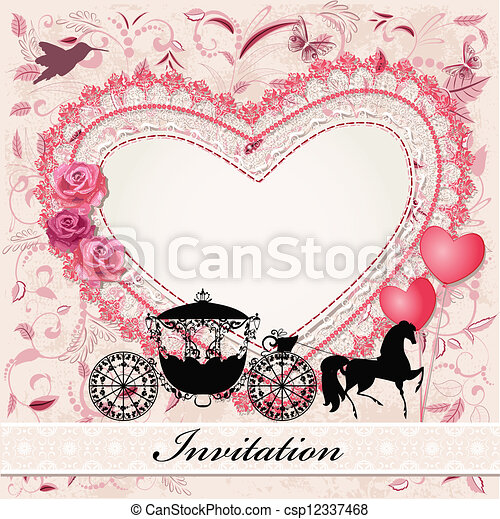 cavalo, carruagem, cartão, valentine - csp12337468