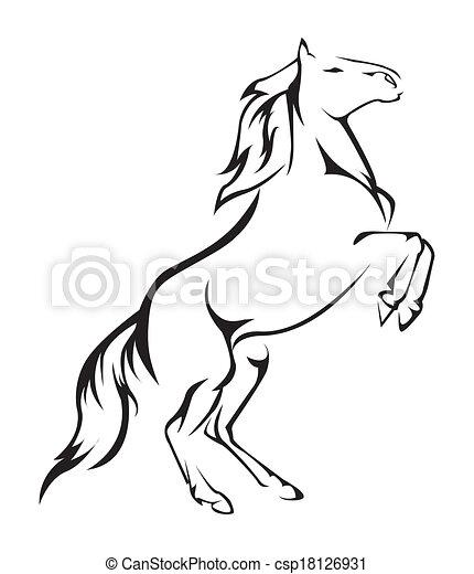 cavalo, vetorial, símbolo, ilustração - csp18126931