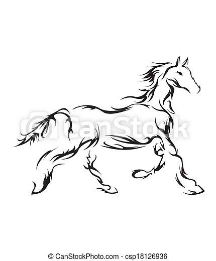 cavalo, vetorial, símbolo, ilustração - csp18126936
