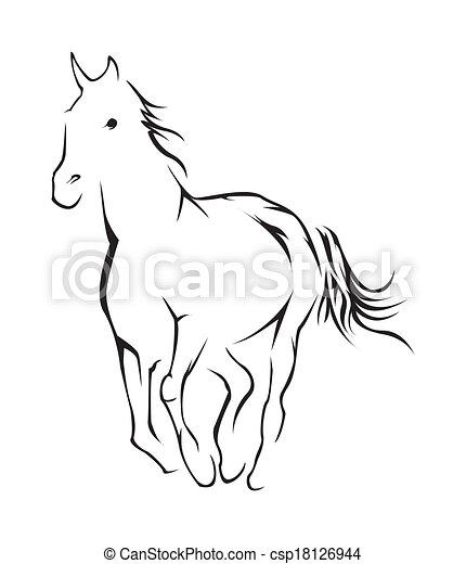 cavalo, vetorial, símbolo, ilustração - csp18126944