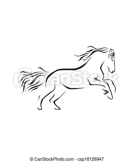 cavalo, vetorial, símbolo, ilustração - csp18126947
