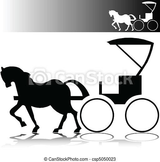 cavalo, vetorial, silhuetas, buggy - csp5050023