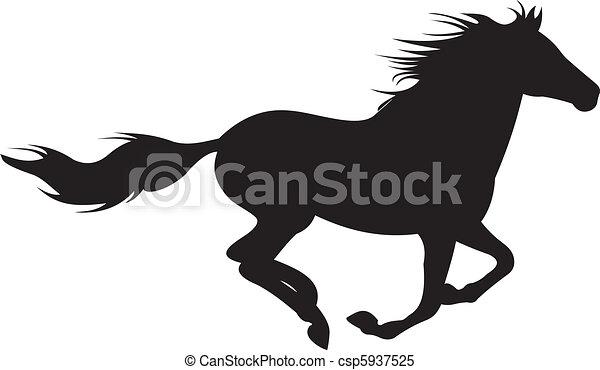 cavalo, vetorial, silueta - csp5937525