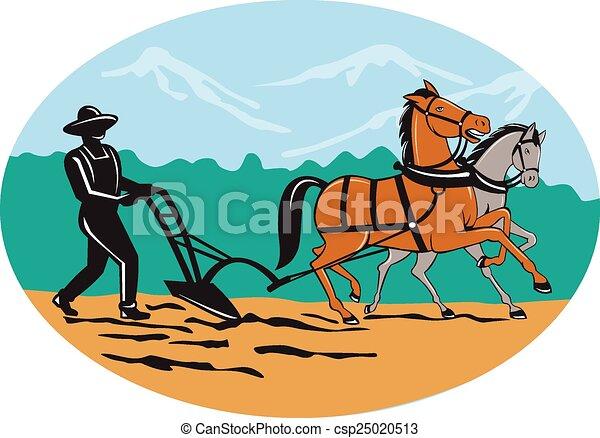 cavalos, campo, arar, caricatura, agricultor - csp25020513