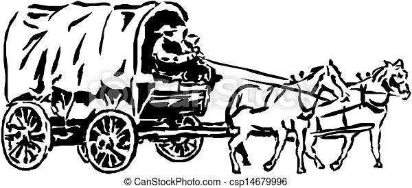 cavalos, carruagem - csp14679996
