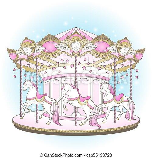 cavalos, ir, feliz, carrossel, redondo - csp55133728
