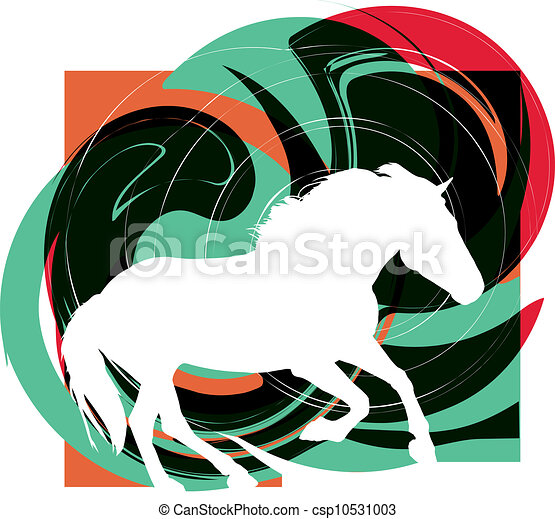 cavalos, silhouettes., abstratos, vetorial - csp10531003