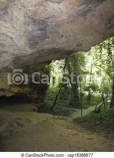 cave in a forest of large trees - csp18388877