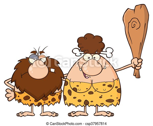 caveman, brunetta, coppia, donna - csp37957814