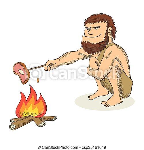 caveman, cartone animato, illustrazione - csp35161049