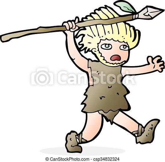 caveman, cartone animato - csp34832324