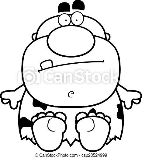 caveman, cartone animato, seduta - csp23524999