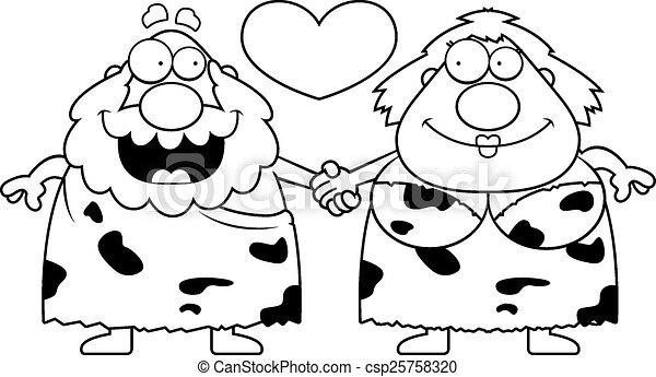 caveman, coppia, cartone animato - csp25758320