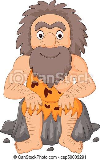 caveman, felice, cartone animato, seduta - csp50003291