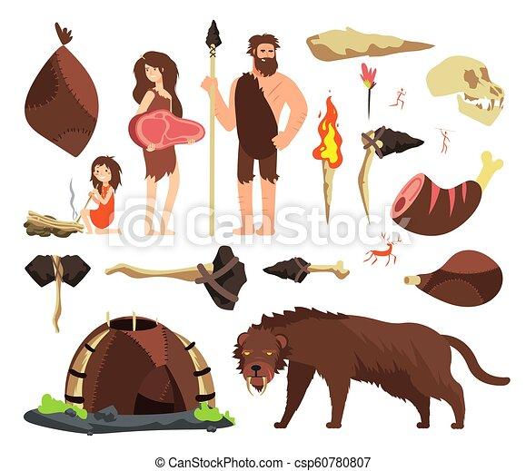 caveman , neolítico, prehistórico, humano, caza, gente, edad, piedra,  caricatura, vector, mamut, caracteres, antiguo, tools