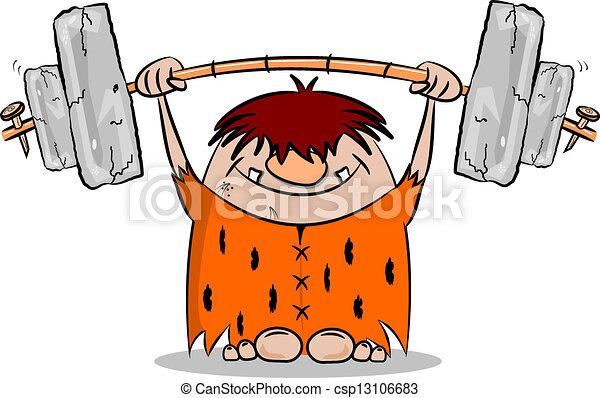 caveman, peso, cartone animato, sollevamento - csp13106683