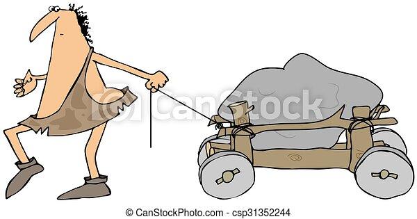 Caveman pulling a wooden cart - csp31352244