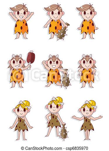 caveman, sæt, ikon, vektor, cartoon - csp6835970