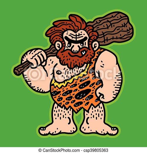 caveman, vettore, cartone animato - csp39805363