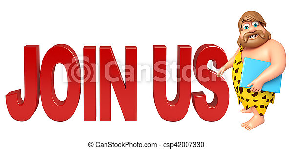 Caveman with Join us sign - csp42007330