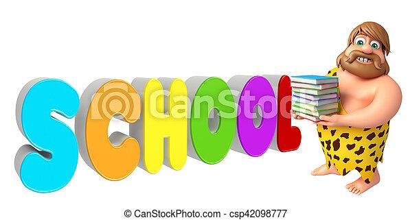Caveman with School sign - csp42098777