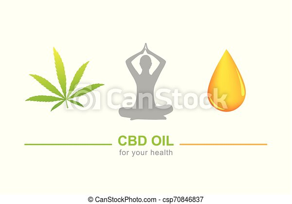 cbd oil for health concept with cannabis leaf yoga and oil drop - csp70846837