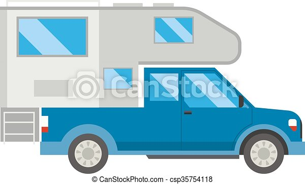 Ccaravan Travel Car Vehicle Trailer House Summer Vacation Vector