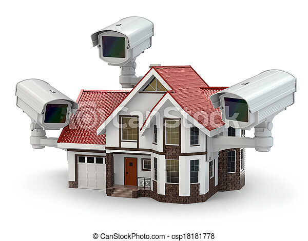 cctv, 保安用カメラ, house. - csp18181778