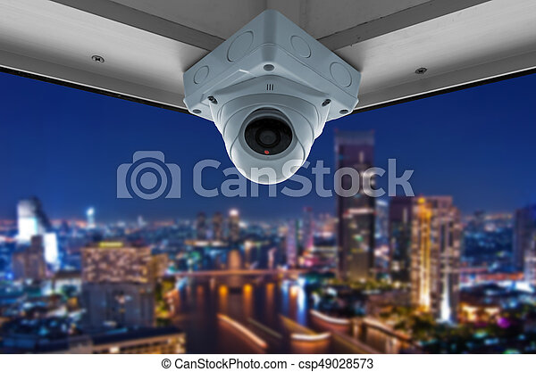 CCTV and night city scene - csp49028573