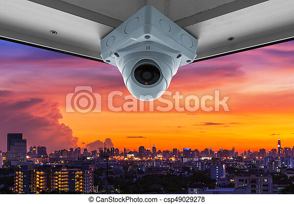 CCTV and night city scene - csp49029278