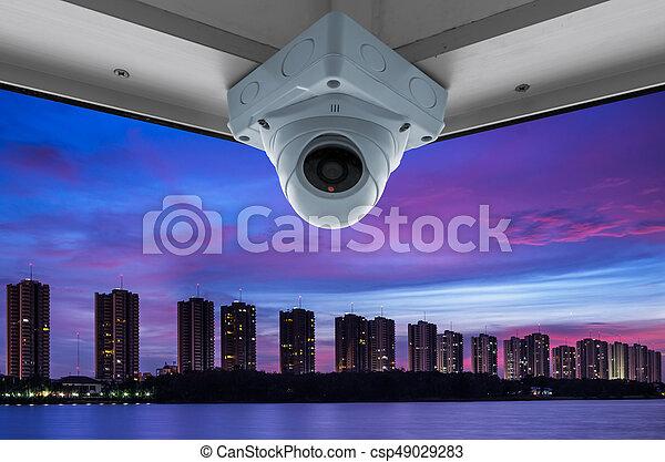 CCTV and night city scene - csp49029283