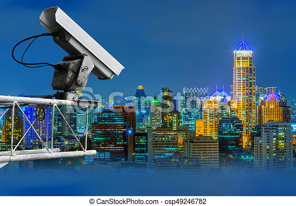 CCTV and night city scene - csp49246782