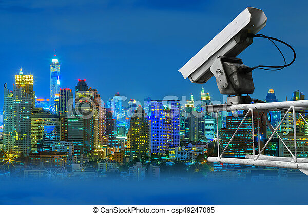 CCTV and night city scene - csp49247085