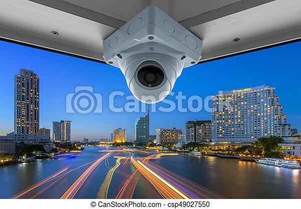 CCTV and night city scene - csp49027550
