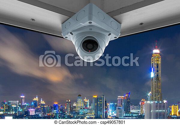 CCTV and night city scene - csp49057801