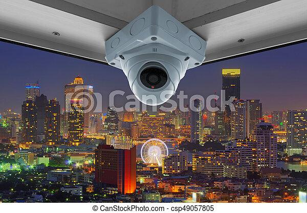 CCTV and night city scene - csp49057805