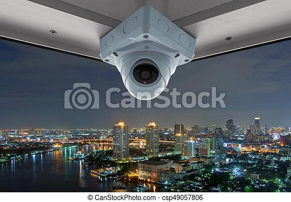 CCTV and night city scene - csp49057806