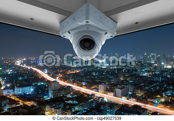 CCTV and night city scene - csp49027539