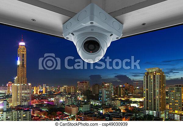 CCTV and night city scene - csp49030939