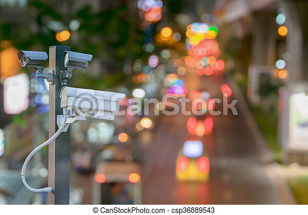 cctv camera surveillance driving operating on at night road to protection outdoor and serve transportation - csp36889543