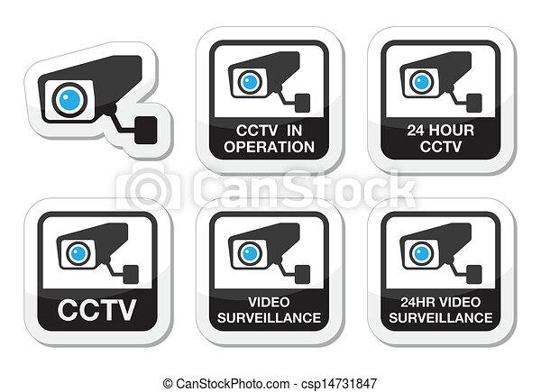 CCTV camera, surveillance icons - csp14731847