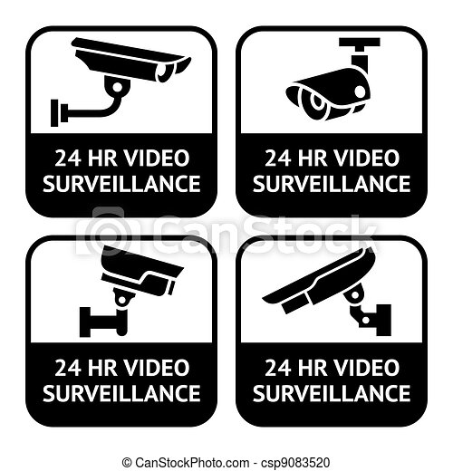 CCTV labels, set symbol security camera pictogram - csp9083520