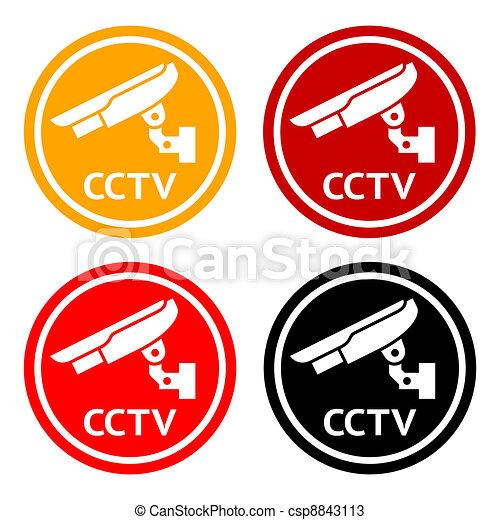 Cctv Pictogram Set Symbol Security Camera Warning Sticker