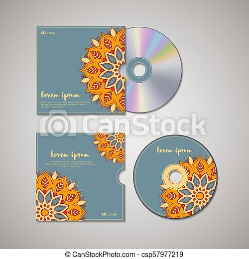 Cd cover oriental template. Cd cover design template with floral ...