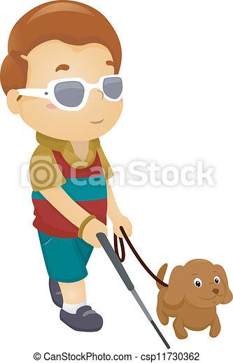 cego, menino, cão - csp11730362