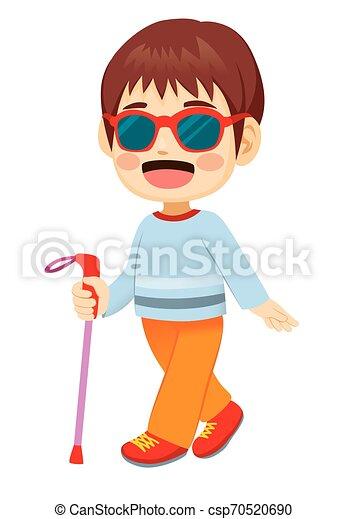 cego, menino, pequeno, andar - csp70520690