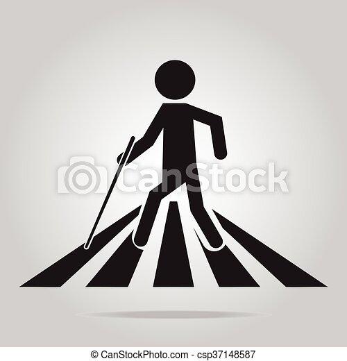 cego, peão, homem, sinal cruzamento - csp37148587